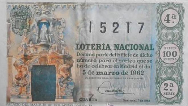 Décimo de Lotería Nacional de 1962